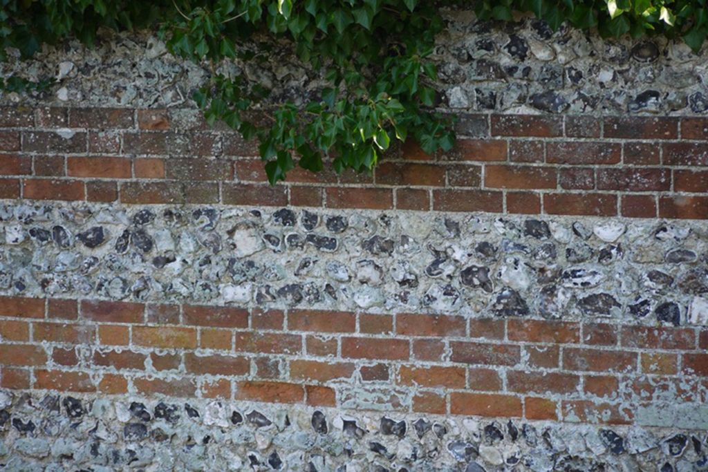 Flint Wall In The Chalk Downs