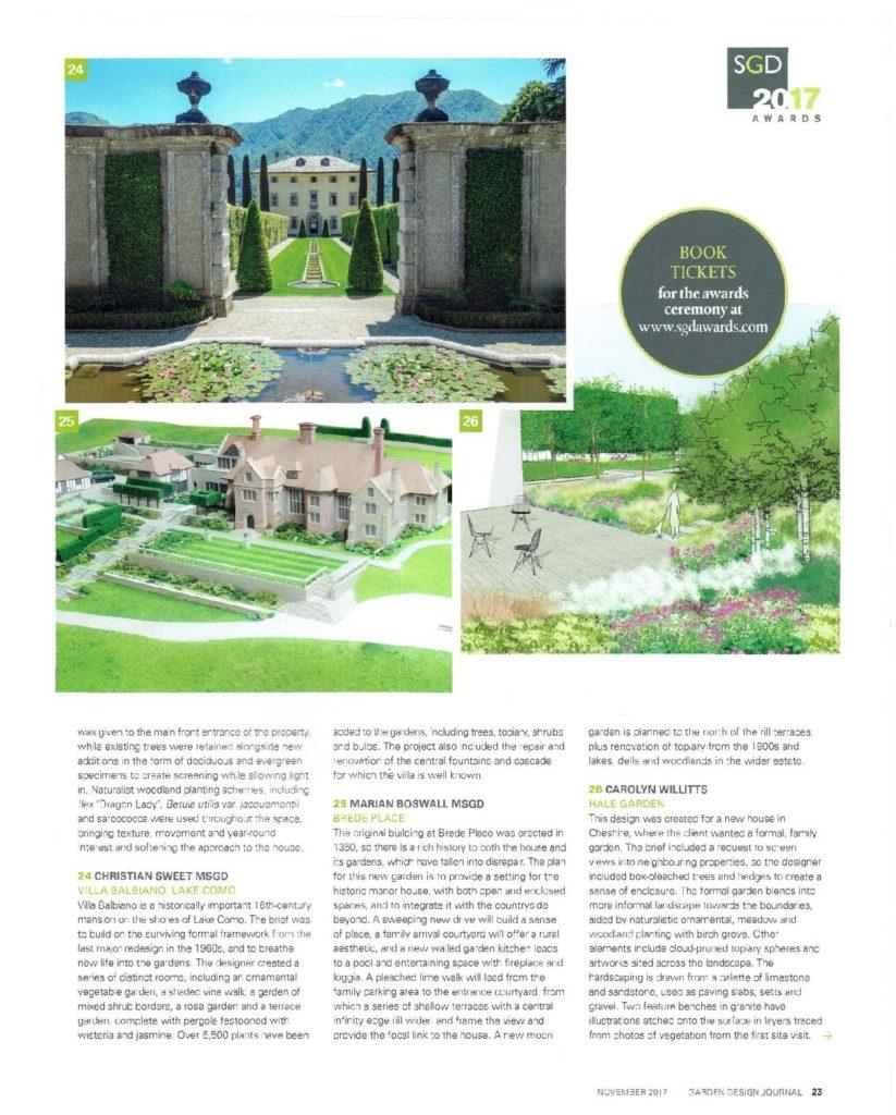Garden Design Journal November 2017 Brede Place