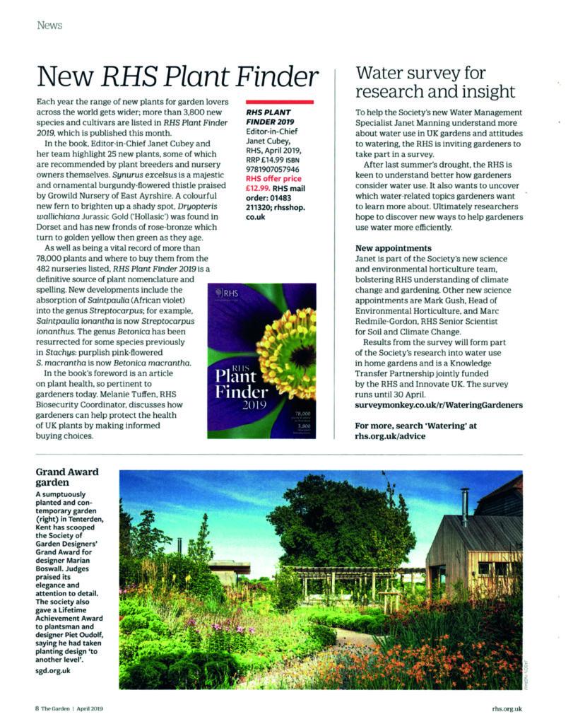 The Garden SGD Award Marian Boswall Article