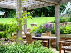 Solid Oak Pergola Marian Boswall Landscape Architects